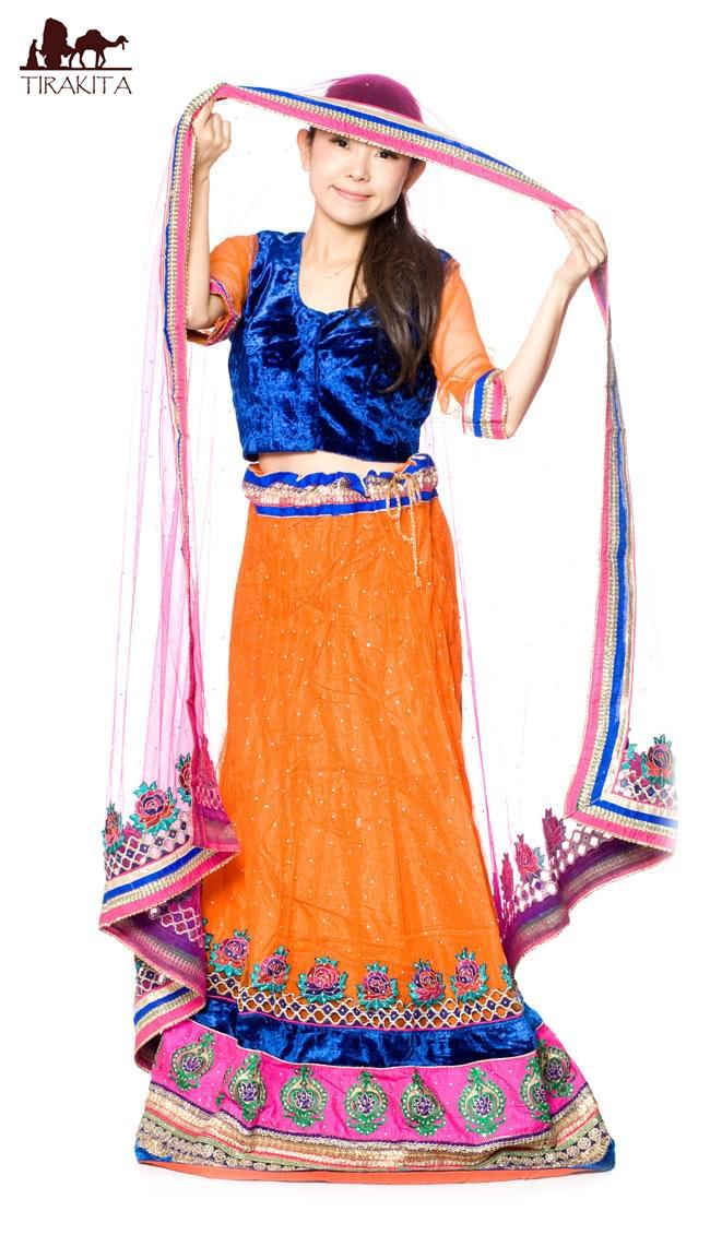 【送料無料】 【1点物】インドのレヘンガ 【青×オレンジ】 / ドレス ウェディング レンガ サリー レディース 女性物 エスニック衣料 アジアンファッション エスニックファッション