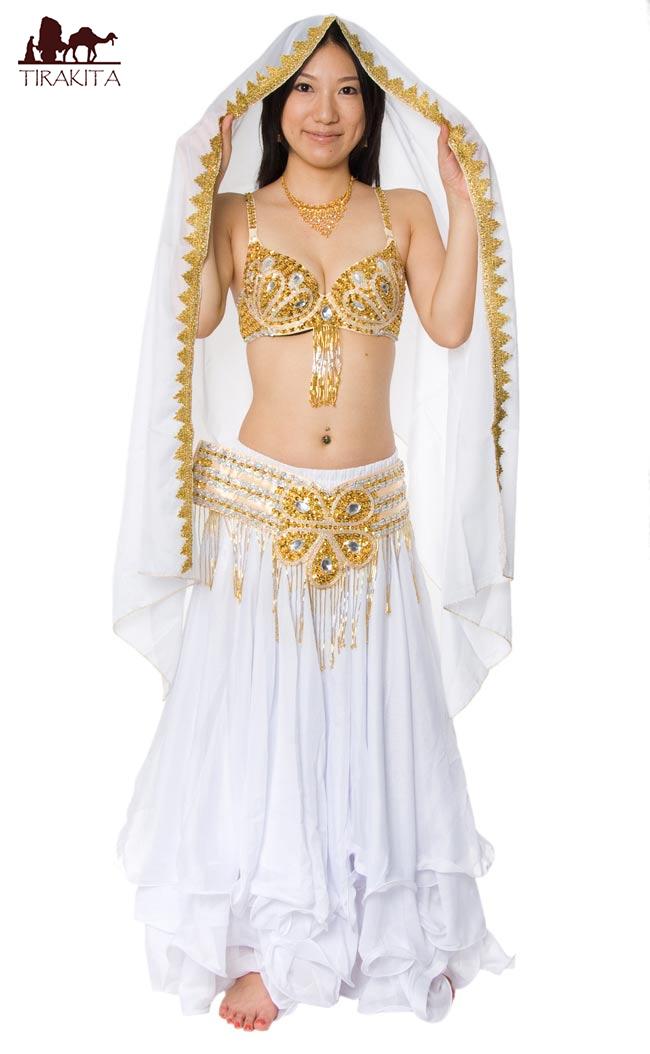 ベリーダンス衣装 フレアスカート・ブラ 上下セット / 上下セット群舞アイボリー色/白・ゴールド 送料無料 レビューでタイカレープレゼント あす楽