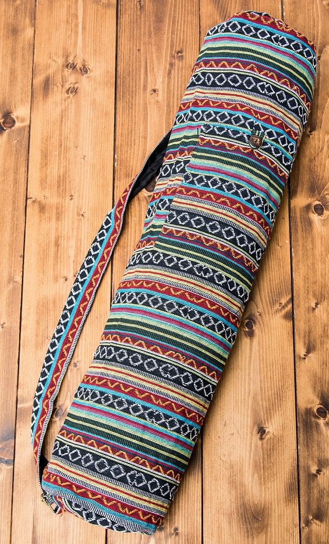 ジッパータイプ ネパール織り布のヨガマットバッグ / ショルダー エスニック ポーチ アジア インド