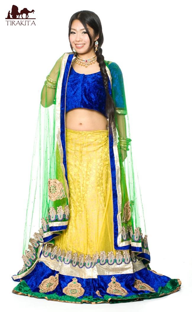 【送料無料】 【1点物】インドのレヘンガ 【黄色×青】 / ドレス ウェディング レンガ サリー レディース 女性物 エスニック衣料 アジアンファッション エスニックファッション