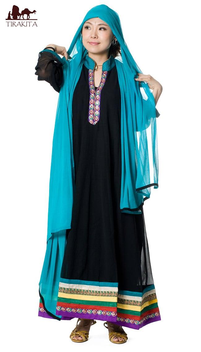 【送料無料】 パンジャビ・ドレス3点セット 黒×エメラルド / インド パンジャビドレス パンジャービードレス サルワール・カミーズ 民族衣装 レディース エスニック衣料 アジアンファッション エスニックファッション