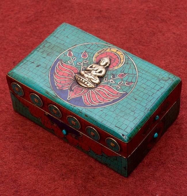 【高品質】チベタンジュエリーケース ブッダ / チベット アンティーク ラピスラズリ 小箱 送料無料 レビューでタイカレープレゼント あす楽