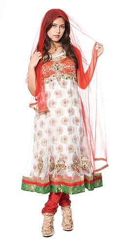 【送料無料】 【1点物】インドのゴージャスパンジャービードレス 赤×白 / パンジャビドレス サルワール・カミーズ サリー レディース 女性物 エスニック衣料 アジアンファッション エスニックファッション
