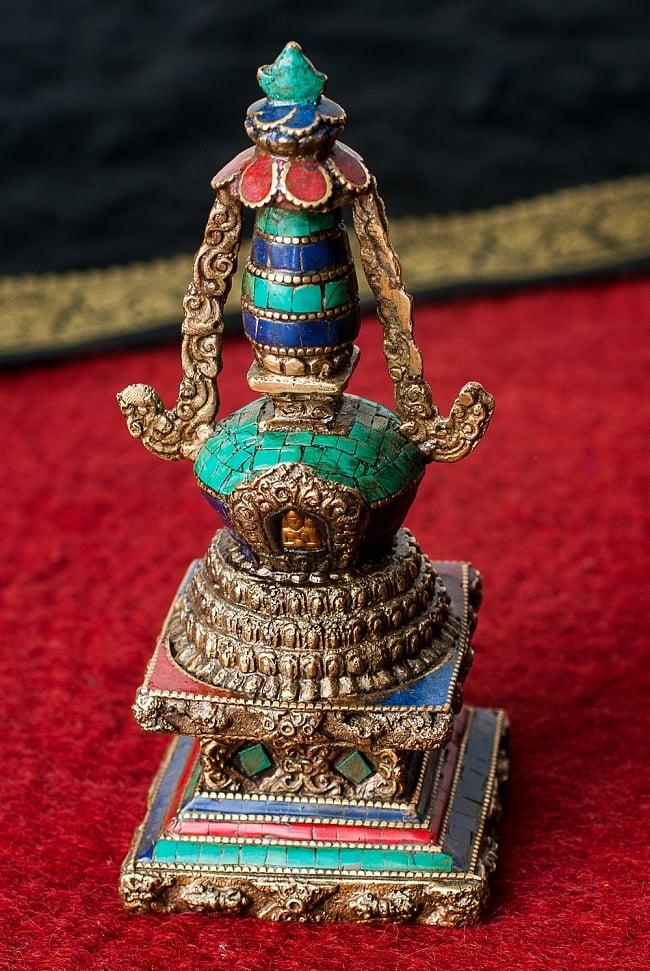 ストゥーパ 緑青石仕上げ 17cm / 仏塔 卒塔婆 ストゥーバ 仏像 送料無料 レビューでタイカレープレゼント あす楽