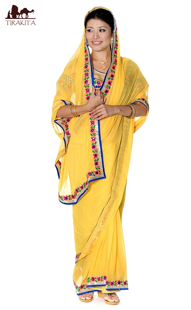 カッチ刺繍テイストのジョーゼットインドサリー【チョリ付き】 黄色 / 民族衣装 デコレーション布 送料無料 レビューでタイカレープレゼント あす楽