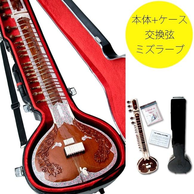 【Kartar Music House社製】シタールセット(グラスファイバーケース) / Sitar インド 楽器 弦楽器 送料無料 レビューでタイカレープレゼント あす楽