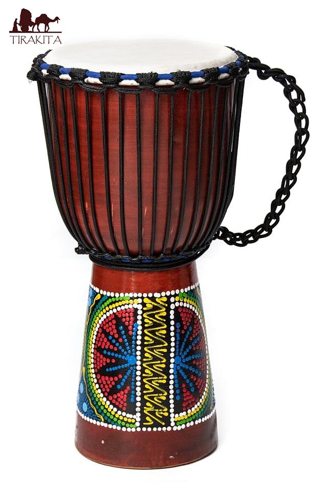 【送料無料】 ハンドペイント トライバル ジャンベ (高さ 50cm 直径 25cm程度) / 西アフリカ 打楽器 バリ 民族楽器 インド楽器 エスニック楽器 ヒーリング楽器