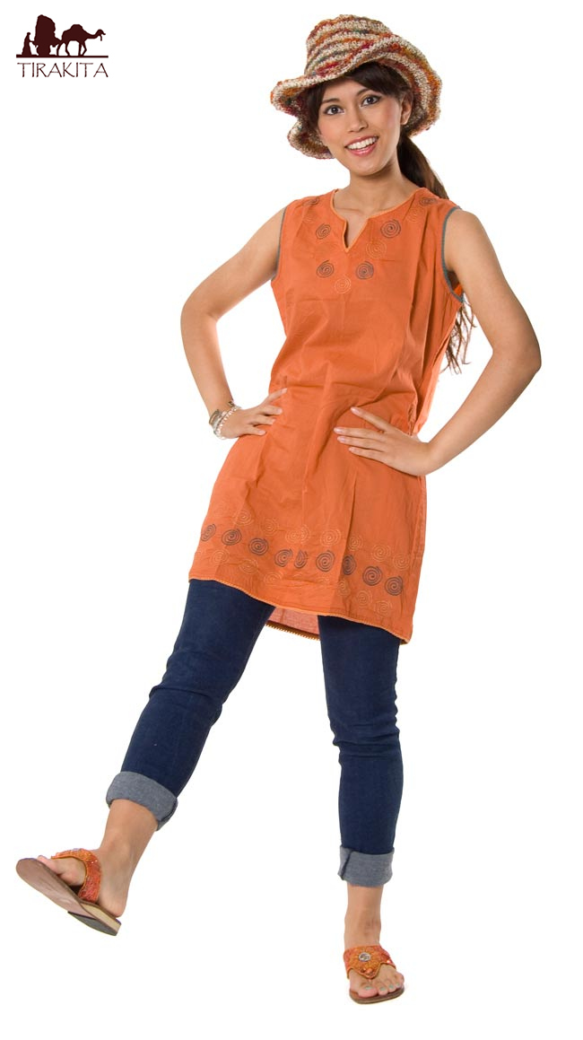 Uzumaki circles sleeveless tunic ethnic clothes clothing fashion Asia India Asian women sleeveless tops