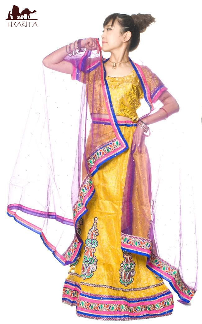 【送料無料】 【1点物】インドのレヘンガ 【黄色×ピンク】 / ドレス ウェディング レンガ サリー レディース 女性物 エスニック衣料 アジアンファッション エスニックファッション