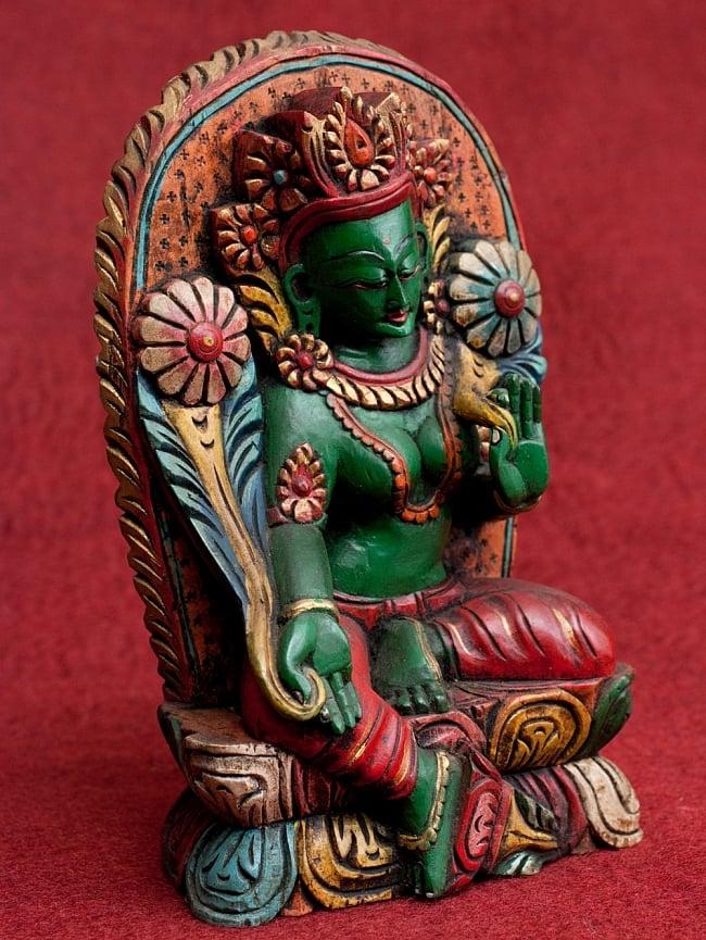 一点もの 木彫りのグリーン・ターラー 25.5cm / アンティック 送料無料 レビューでタイカレープレゼント あす楽