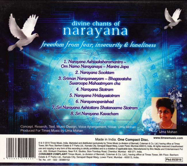 divine chants of narayana-freedom from fear insecurity and loneliness uma mohan cd咒文印度CD宗教赞歌印度教印度音乐民族音乐