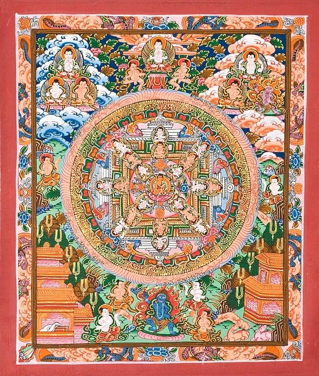 タンカ -釈迦牟尼仏マンダラ 縦横36x29 / 曼荼羅 手描きのタンカ 送料無料 レビューでタイカレープレゼント あす楽