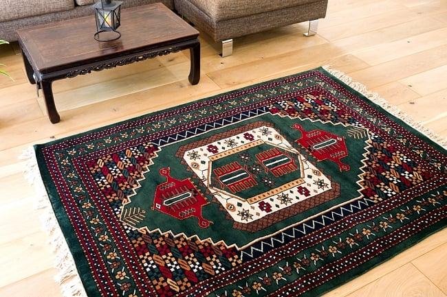 【送料無料】 ザンスカール遊牧民の手織りのアンティック絨毯【たてxよこ 約120cm x 165cm】 / アンティーク ラグ マット 手織り絨毯 インド 手編み絨毯 じゅうたん 手作り アジアン インテリア エスニック