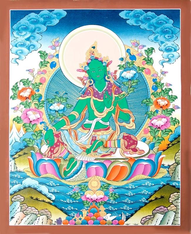 タンカ - グリーンターラー 51x67 / マンダラ 曼荼羅 手描きのタンカ 送料無料 レビューでタイカレープレゼント あす楽