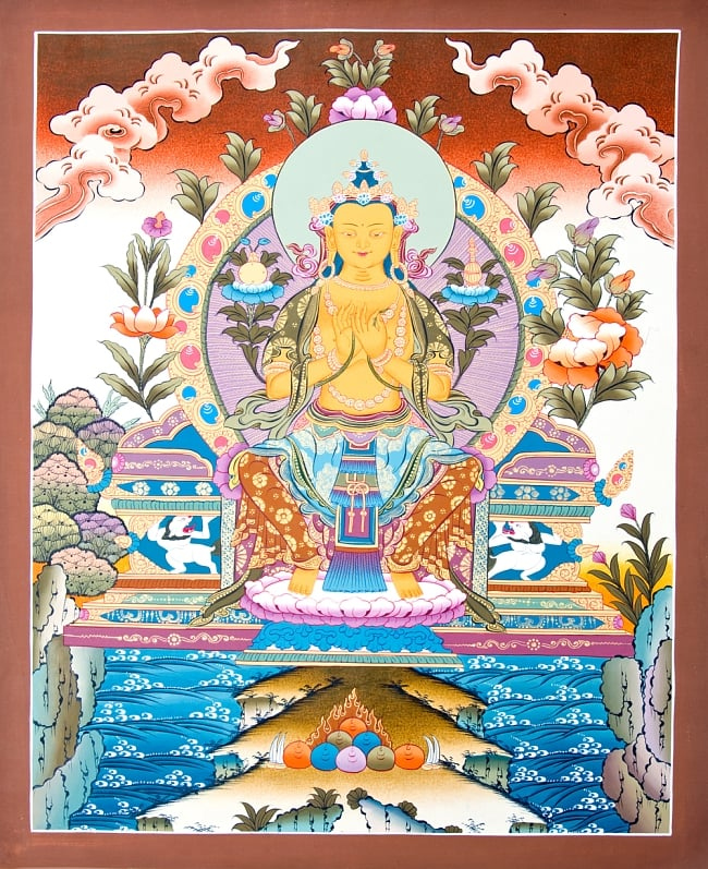 タンカ - 弥勒菩薩 51x67 / マンダラ 曼荼羅 手描きのタンカ 送料無料 レビューでタイカレープレゼント あす楽