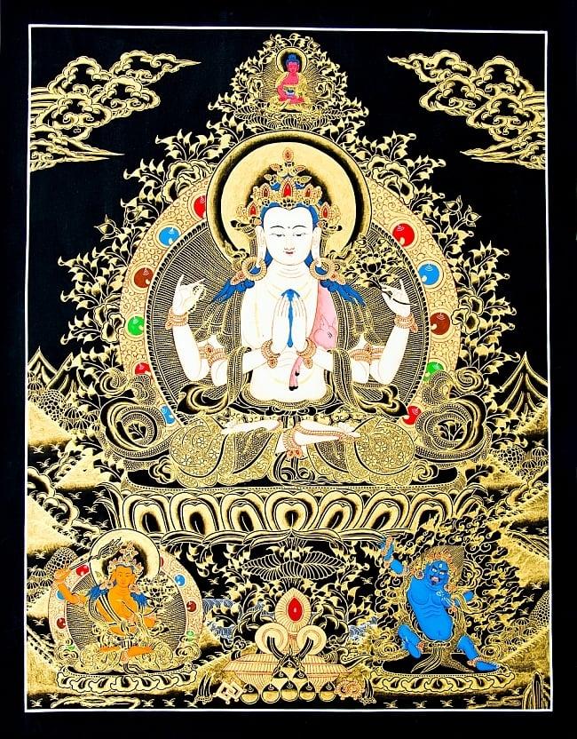 煌めくタンカ 六字咒観音菩薩像 56.5x74 / マンダラ 曼荼羅 手描きのタンカ 送料無料 レビューでタイカレープレゼント あす楽