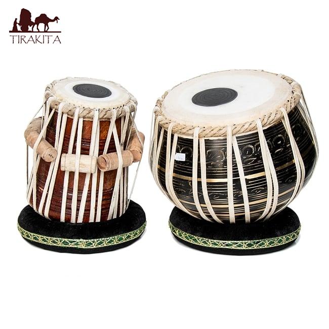 教則 インド 打楽器 民族楽器 インドの打楽器 【送料無料】 【一点物】タブラ フルセット ブラス 彫り込み仕上げ / CD DVD 民族楽器 インド楽器 エスニック楽器 ヒーリング楽器