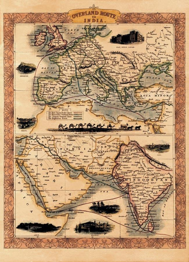 This antique map poster OVERLAND ROUTE TO INDIA / ancient map world map  Southeast Asian printed matter sticker postcard