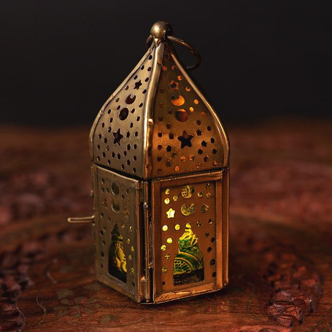 上等 送料無料 LEDキャンドルで安心して使える LEDライト用ランタン モロッコスタイルの透かし彫りキャンドルランタン ロウソク風LEDキャンドル付き グリーン 約10.5×6cm LEDランタン インテリア LEDキャンドルライト エスニック キャンドルホルダー アジアン キャンドルスタンド
