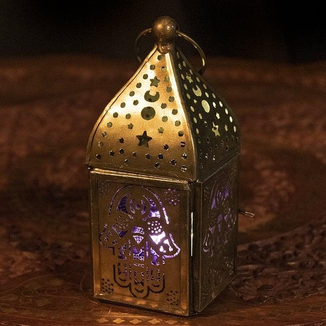 LEDキャンドルで安心して使える LEDライト用ランタン モロッコスタイルの透かし彫りLEDキャンドルランタン ロウソク風LEDキャンドル付き パープル 約13×7cm 希少 LEDランタン キャンドルホルダー 再再販 LEDキャンドルライト キャンドルスタンド アジアン エスニック インテリア