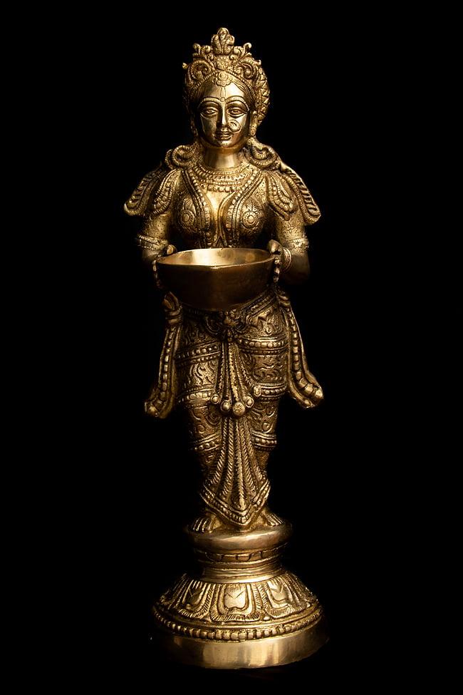 【送料無料】 ブラス製 ディワリ ラクシュミー像 (大型 高さ 約56.5cm) / ラクシュミ像 神様像 神像 仏像 インド 置物 エスニック アジア 雑貨