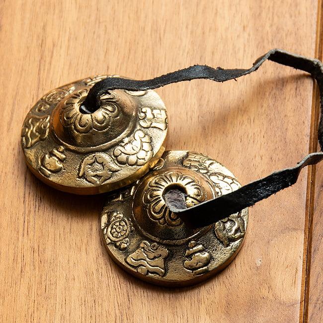 超激安特価 打楽器 民族楽器 澄んだ音が鳴り響く楽器です 吉祥柄ディンシャ 4.5cm チベタンベル ネパール タイムセール インド楽器 ヒーリング楽器 楽器 エスニック楽器 マンジーラ