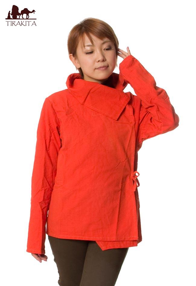 Tirakita Wood Button Surplice Jacket Cotton Orange Nepal Asia