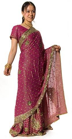 【送料無料】 婚礼用ゴージャスサリー 3点セット / ウェディングドレス インド インドサリー レディース エスニック衣料 アジアンファッション エスニックファッション