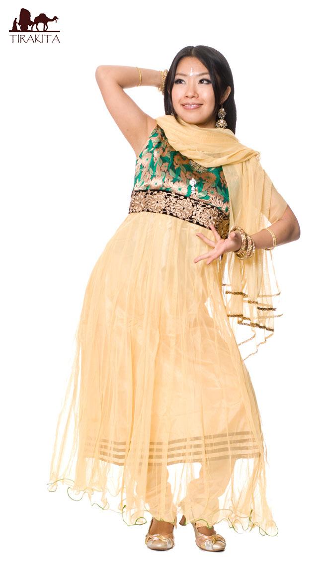 【送料無料】 パンジャビ・ドレス3点セット グリーン / インド パンジャビドレス パンジャービードレス サルワール・カミーズ 民族衣装 レディース エスニック衣料 アジアンファッション エスニックファッション