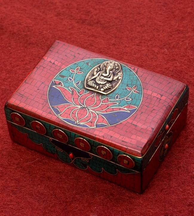 【高品質】チベタンジュエリーケース ガネーシャ / チベット アンティーク ラピスラズリ 小箱 送料無料 レビューでタイカレープレゼント あす楽