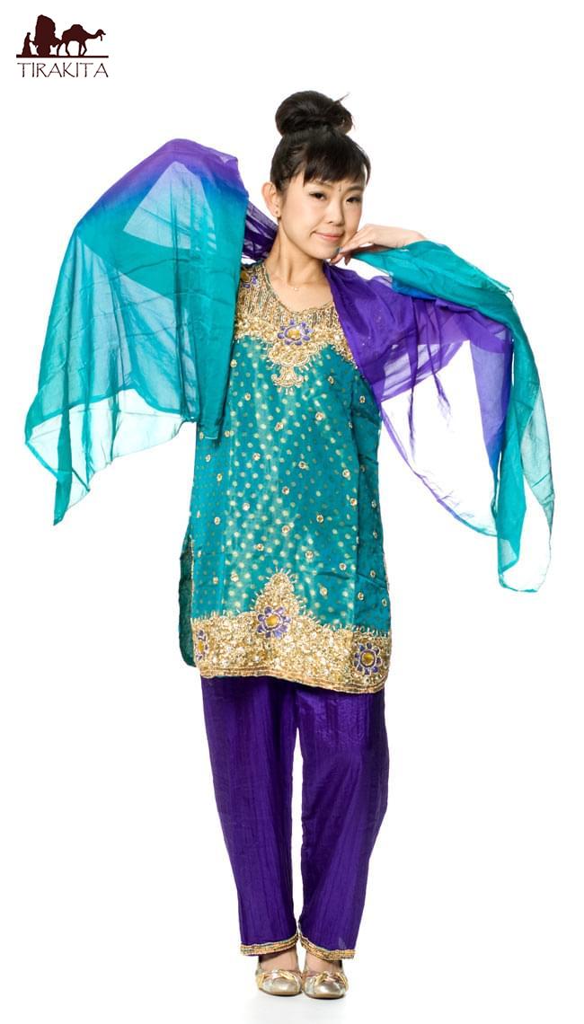 【送料無料】 パンジャビ・ドレス3点セット エメラルド / インド パンジャビドレス パンジャービードレス サルワール・カミーズ 民族衣装 レディース エスニック衣料 アジアンファッション エスニックファッション