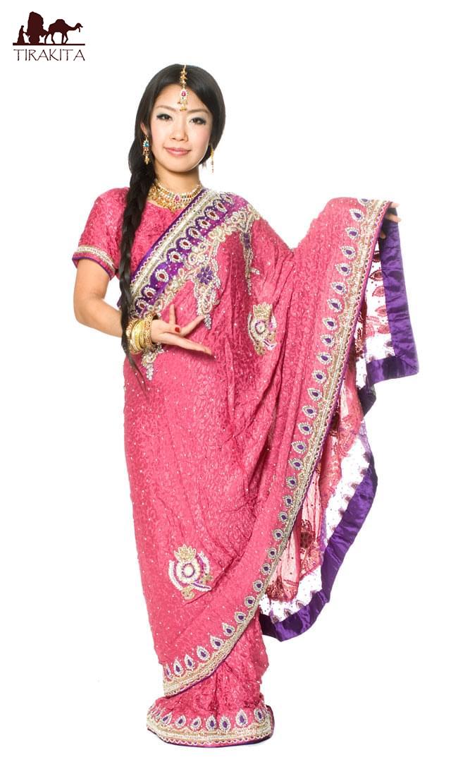 【送料無料】 【1点物】婚礼用ゴージャスサリー3点セット【ピンク】 / インド インドサリー レディース エスニック衣料 アジアンファッション エスニックファッション
