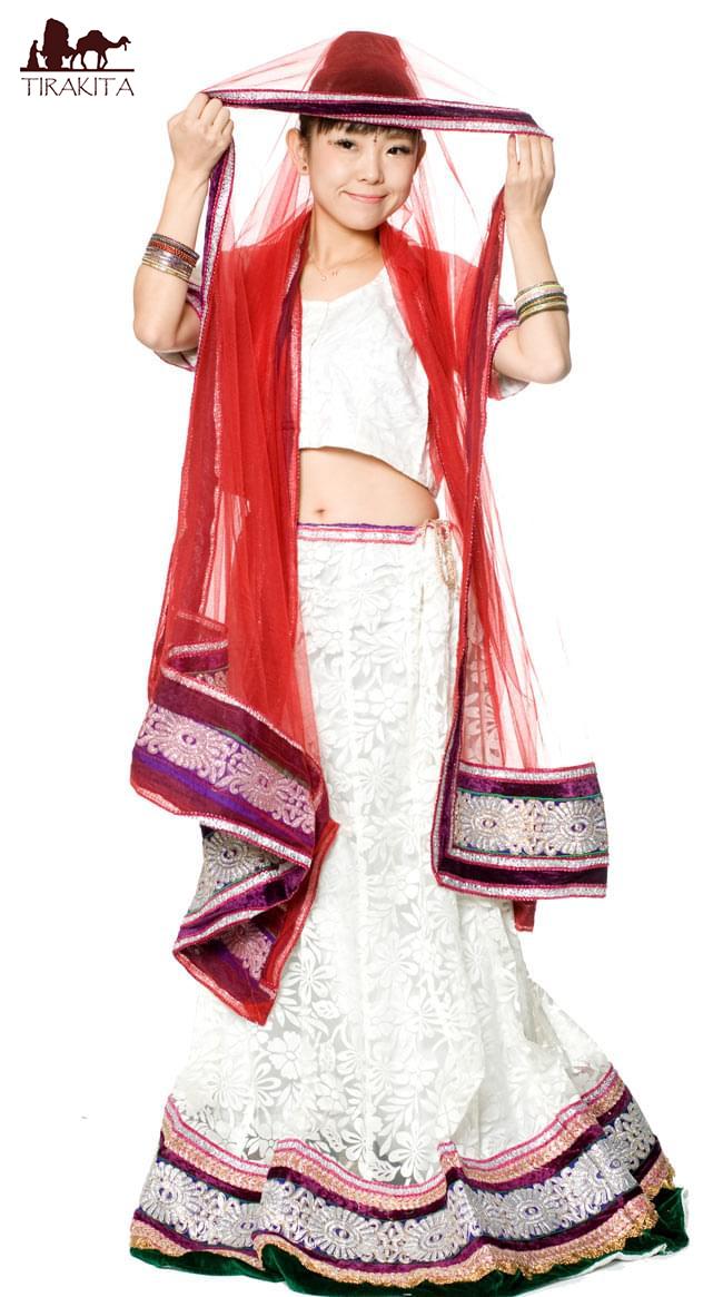 【送料無料】 【1点物】インドのレヘンガ 【白×赤】 / パーティードレス コスプレ ウェディング サリー レディース 女性物 エスニック衣料 アジアンファッション エスニックファッション