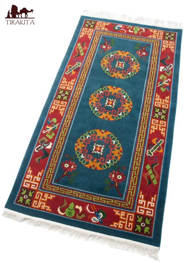 【高密度】手織りのチベット絨毯【約90cm×約180cm】 / ラグ マット 送料無料 あす楽