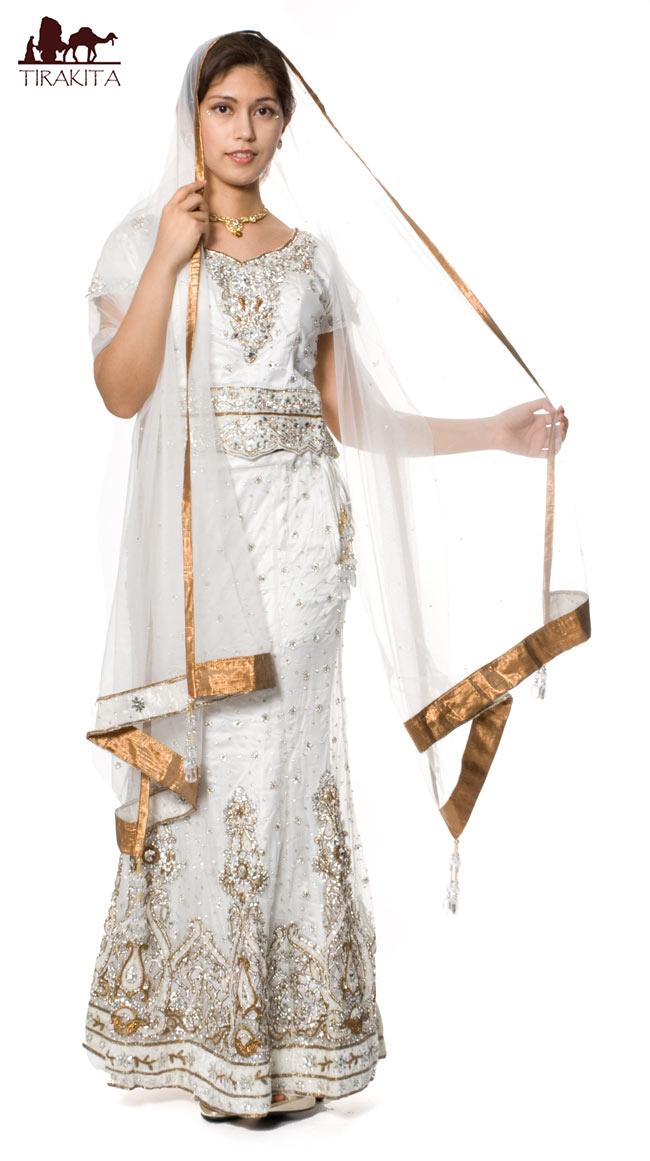 【送料無料】 【1点物】インドのウェディングドレス 白 / サリー レディース 女性物 エスニック衣料 アジアンファッション エスニックファッション