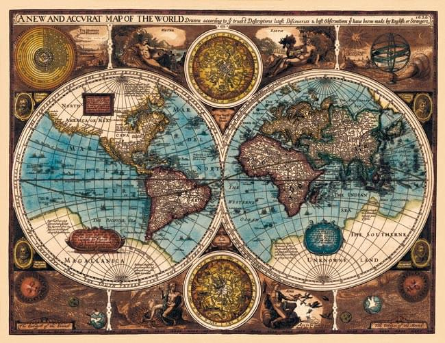 Tirakita Antique Map Poster A New And Accvrat Map Of The World