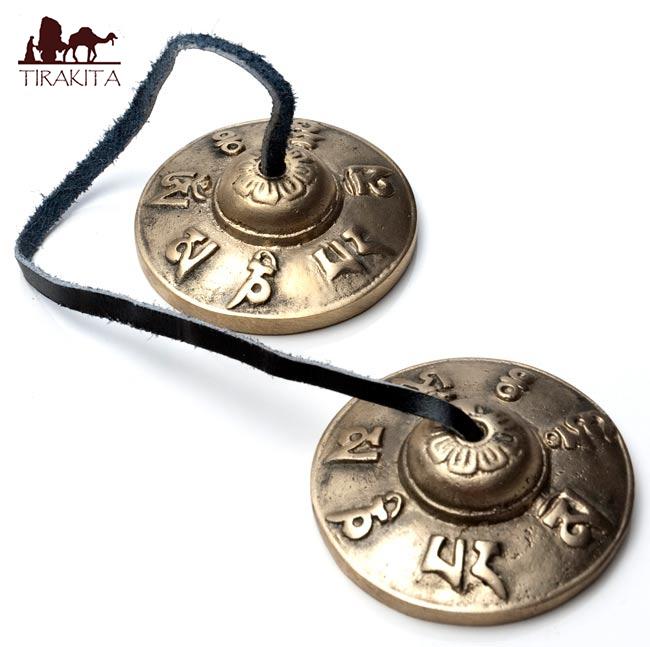 オンマニペメフムディンシャ 直径:約6.5cm / チベタンベル マンジーラ ネパール 楽器 民族楽器 打楽器 インド楽器 エスニック楽器 ヒーリング楽器