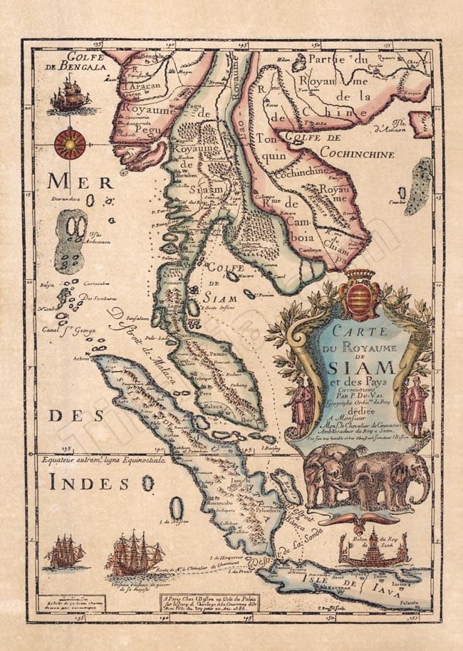 Tirakita Antique Map Poster Carte Du Royaume De Siam Print