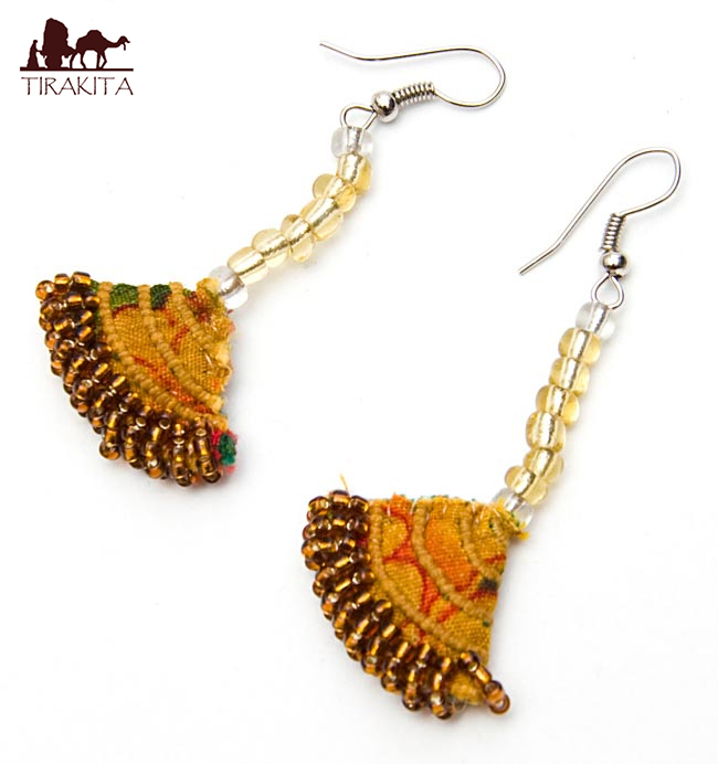 Hmong colorful embroidery pierced earrings orange tea-based a / ethnic  Asian Indian accessories anklet ring bottle D to sort