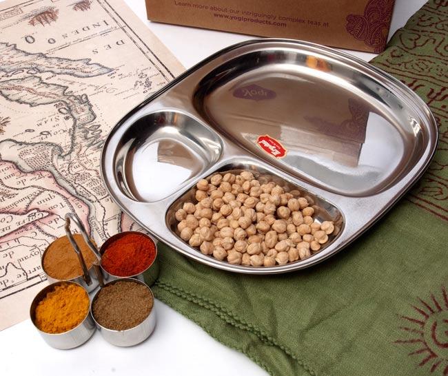 カレー 皿 インド AL完売しました 本場インドのステンレス製 インドの食堂で使ってる 3分割角丸カレー皿 約27.5cm x お得セット 24cm ターリー ランチプレート エスニック食材 チャイカップ チャイ アジアン食品