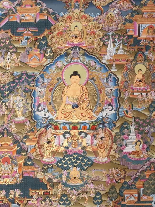 タンカ - 迦陀如来マンダラ【布額装済み】 / 曼荼羅 手描きのタンカ 送料無料 あす楽