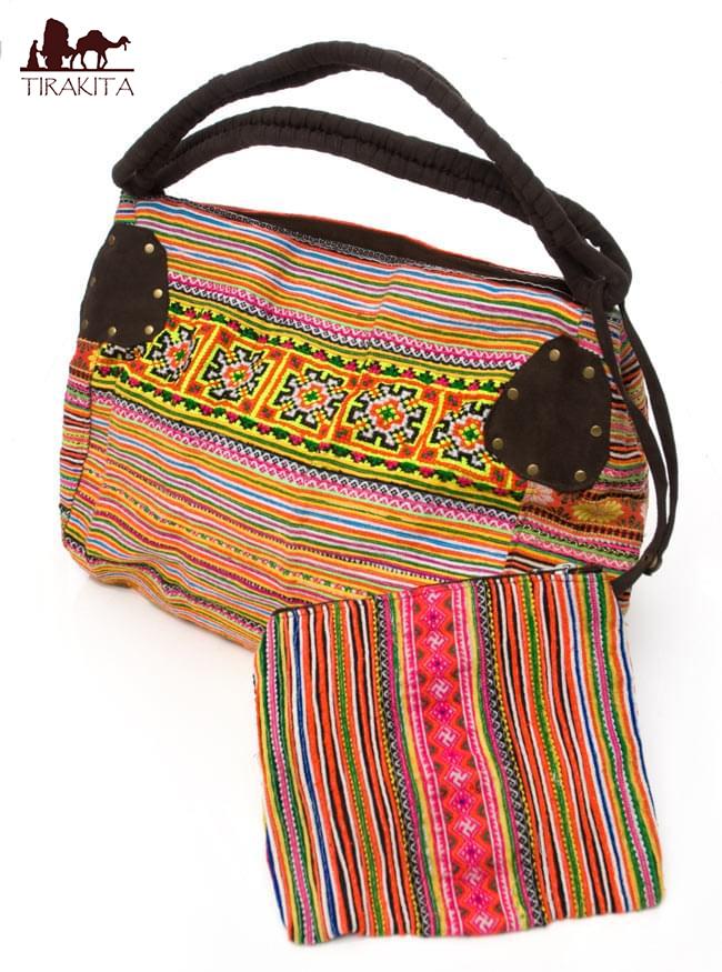 一点物 モン族刺繍の大きなお出かけバッグ 小【ポーチ付き】 / 送料無料 あす楽