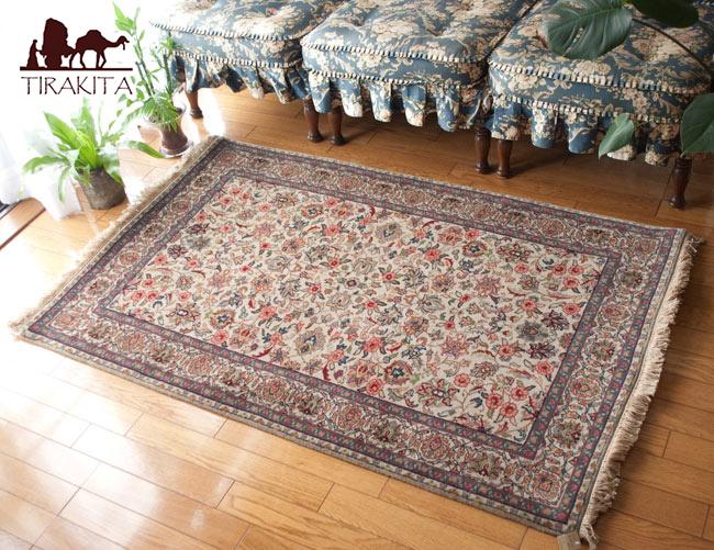 手織りのインド絨毯【約148cm x 約95cm】 / ラグ マット 手織り絨毯 送料無料 レビューでタイカレープレゼント あす楽
