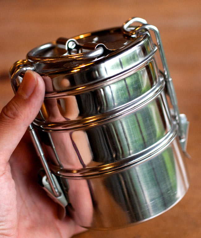 印度的午餐盒 [11.5 厘米] 防漏奇怪 Bento 盒饭盒密封密封的咖喱印度菜印度开花营地野餐远足不锈钢
