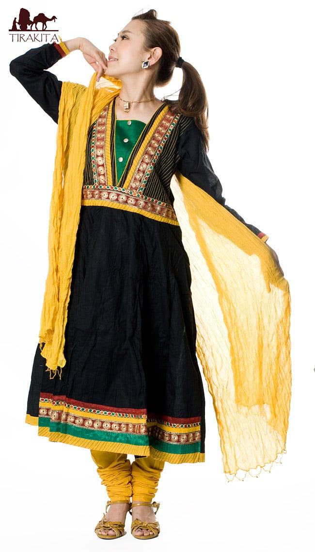 【送料無料】 パンジャビ・ドレス3点セット ブラック / インド パンジャビドレス パンジャービードレス サルワール・カミーズ 民族衣装 レディース エスニック衣料 アジアンファッション エスニックファッション