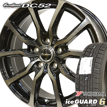 【取付対象】205/55R16 ヨコハマ アイスガード6 iG60 スタッドレスタイヤ ホイールセット 4本 YOKOHAMA iceGUARD6 ユーロスピードDC52 16-6.5J 車種例 インプレッサ ハチロク BRZ シビック アイシス