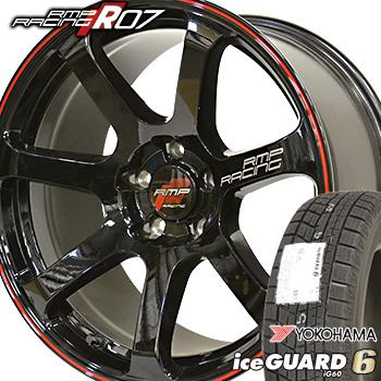 【取付対象】225/55R18 ヨコハマ アイスガード6 iG60 スタッドレスタイヤ ホイールセット 4本 YOKOHAMA iceGUARD6 RMP RACING R07 18-8.0J 車種例 D5 エクストレイル エルグランド