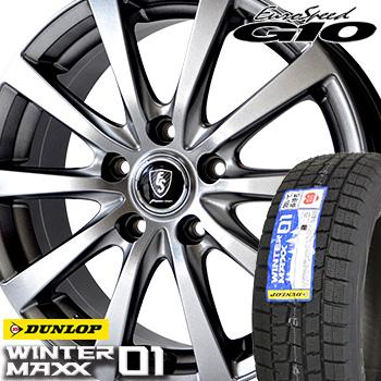 【取付対象】 【2019年製~】 165/65R15 ダンロップ ウインターマックス WM01 スタッドレスタイヤ ホイールセット 4本 DUNLOP WINTER MAXX ユーロスピードG10 15-5.5J 車種例 D2 ソリオ スリオバンディッド