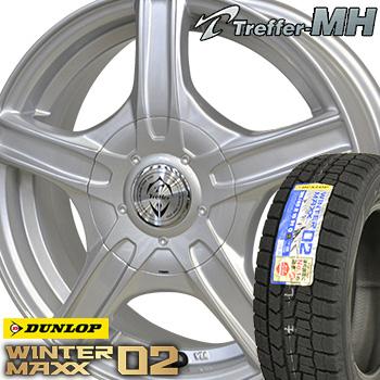 【取付対象】【2018年製】 185/65R15 ダンロップ ウインターマックス WM02 スタッドレスタイヤ ホイールセット 4本 DUNLOP WINTER MAXX トレファーMH 15-6.0J 車種例 ティーダ フリード ノート デミオ