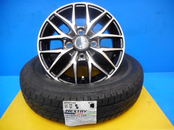 【取付対象】 VENES FS01 BS ブリヂストン ネクストリー 145/80R13 人気のブラポリ ムーヴ タント ワゴンRなどに 新品タイヤホイール4本SET